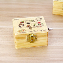 Modern Design DIY Music Box Car Mailbox Style Wooden Music Boxes Mechanism Hand Operated Vintage Musical boxes