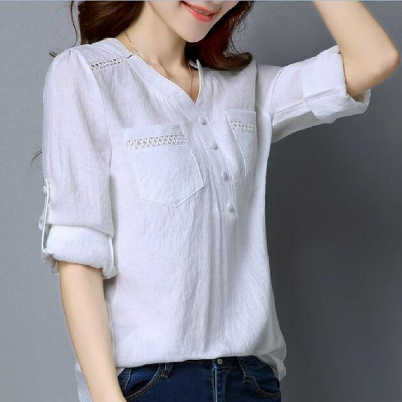 Plus size v neck casual female blouse shirt women basic for Long linen shirts for womens