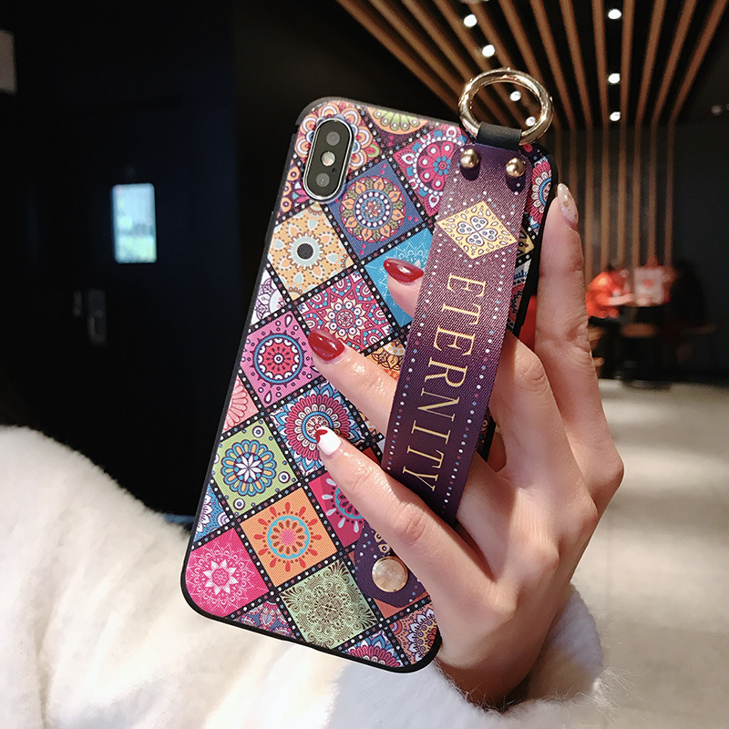 3 SoCouple Wrist Strap Soft TPU Phone Case For iphone 7 8 6 6s plus Case For iphone X Xs max XR Vintage Flower Pattern Holder Case