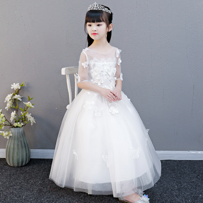 2018 Summer New Flowers Girl Children Birthday Party Pageant Communion Dress Little Girls Kids Princess Lace Dress for Wedding vintage lace baby girl wedding pageant dress infant princess little girls birthday party dress lace big bow sleeveless dress
