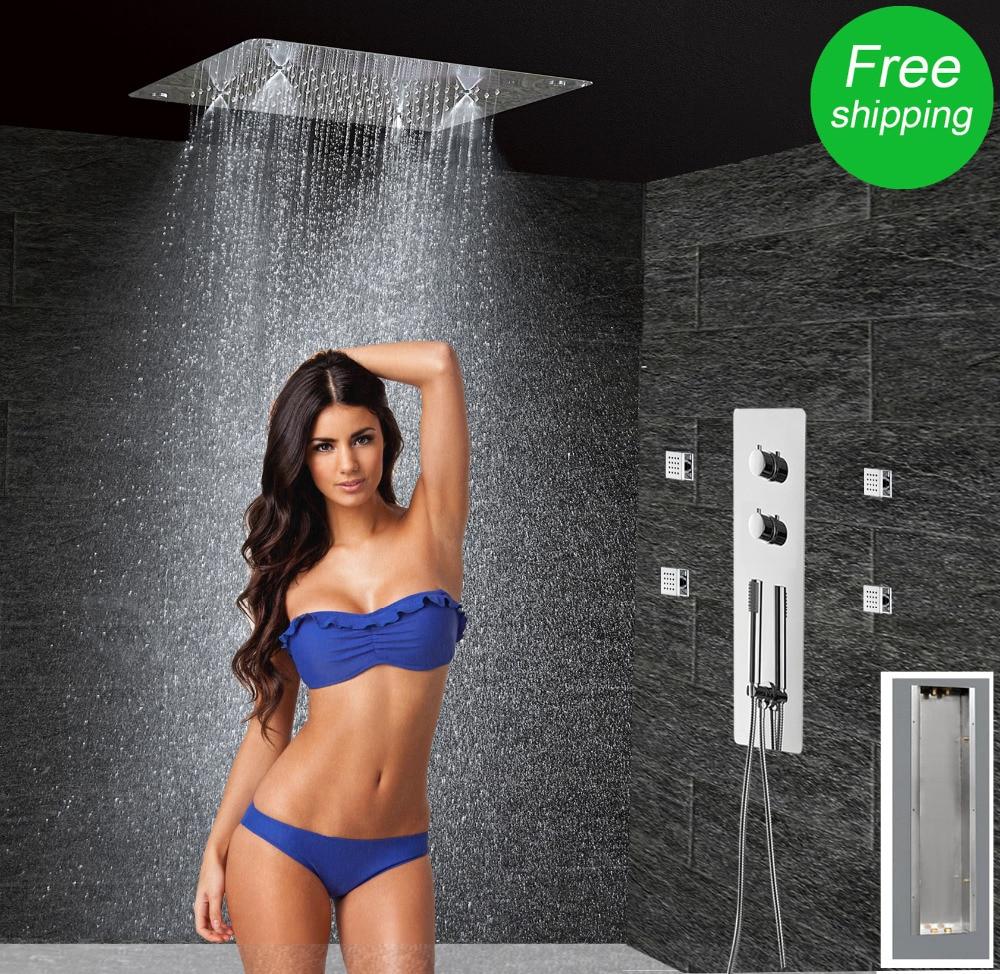 Concealed  Thermostatic Shower Set  Panel Bathroom Mixer Faucet  Bath Tap SUS304  Ceiling Shower Head 300x300 Rain Mist  LF5203 gappo classic chrome bathroom shower faucet bath faucet mixer tap with hand shower head set wall mounted g3260