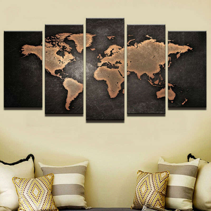 Miaodu Diy 5 Pieces Poster Retro World Map Decoration Diamond Painting Full Square Wedding Embroidery cross stitch embroidery