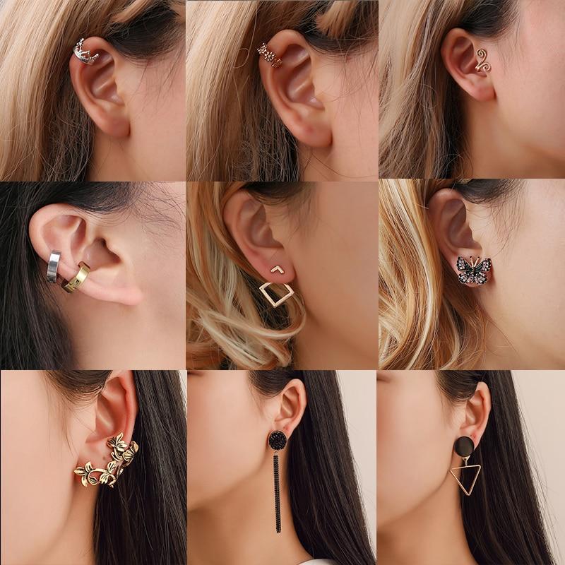 New Imitation Pearl Heart Crystal Flower Leaf Angel Wings Geometry Stud Earrings For Women Statement Ear Jewelry Wholesale