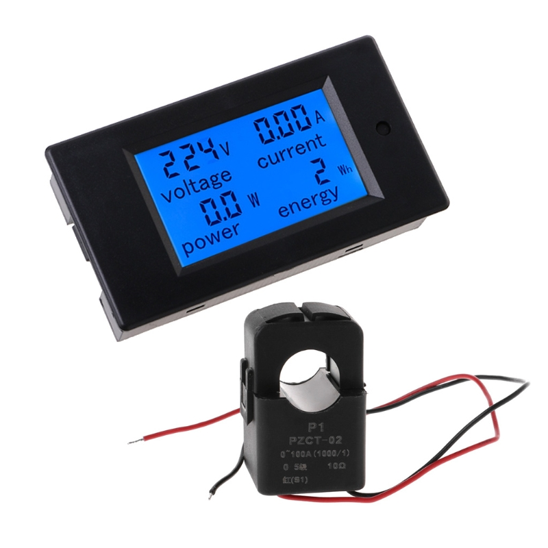 100A AC 80-260V LCD Digital Volt Amp Watt Power Meter Ammeter Voltmeter+Coil CT
