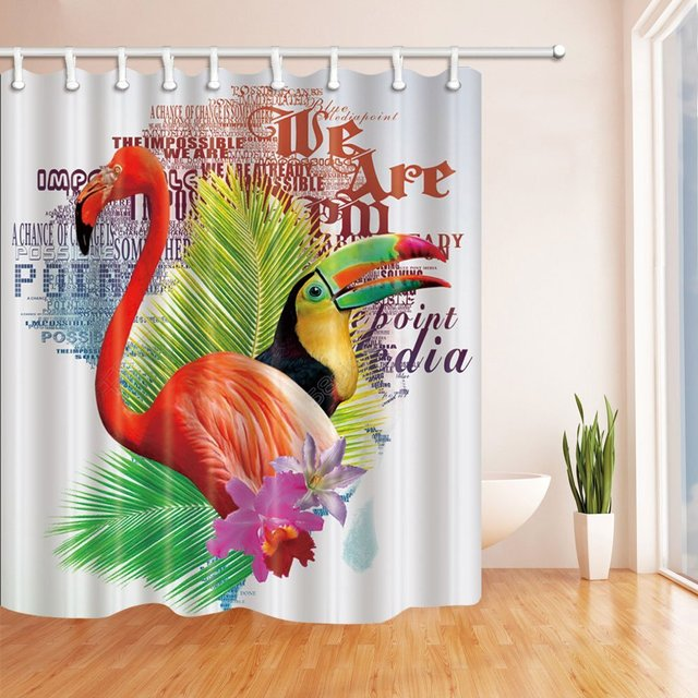 Bird Decor Parrot Flamingo in Palm Leaves Shower Curtain, Mildew ...