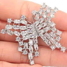 Long Big Heavy 10.9g Butterfly Shape White Sapphire Womans Party Silver Brooch 50x40mm