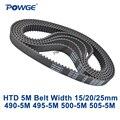 Зубчатый ремень POWGE Arc HTD 5M C = 490/495/500/505 ширина 15/20/25 мм зубцы 98 99 100 101 HTD5M синхронный ремень 490-5 м 495-5 м 500-5 м м
