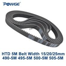 POWGE Arc HTD 5M เข็มขัดนิรภัย C = 490/495/500/505 กว้าง 15/20 /25 มม.ฟัน 98 99 100 101 HTD5M Synchronous เข็มขัด 490 5M 495 5M 500  5M
