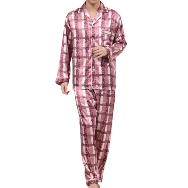New Arrival Imitation Silk Men Sleepwear Male Homewear Pajamas Sets Spring Autumn Soft Grid Sleepwear Nightwear