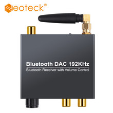Neoteck conversor de áudio 192khz bluethooth dac digital para analógico, com receptor bluetooth e controle de volume para celular ipad dvd