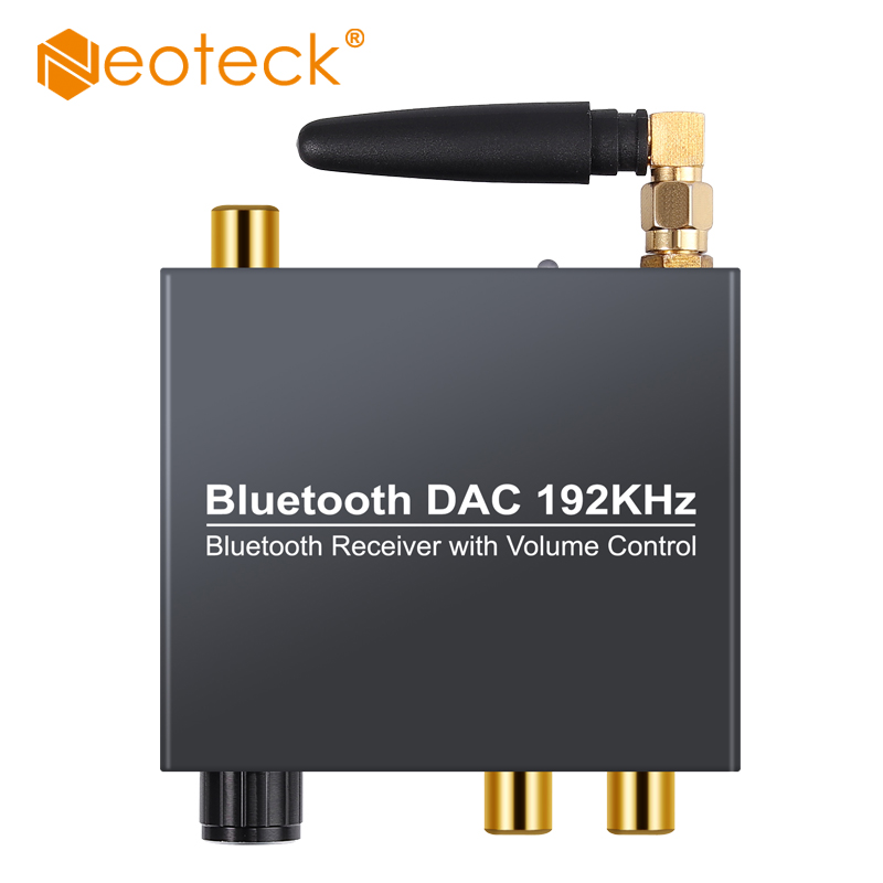 Neoteck 192khz Bluethooth <font><b>DAC</b></font> Digital to Analog Audio Converter with Bluetooth Receiver With Volume Control For Phone Ipad DVD image
