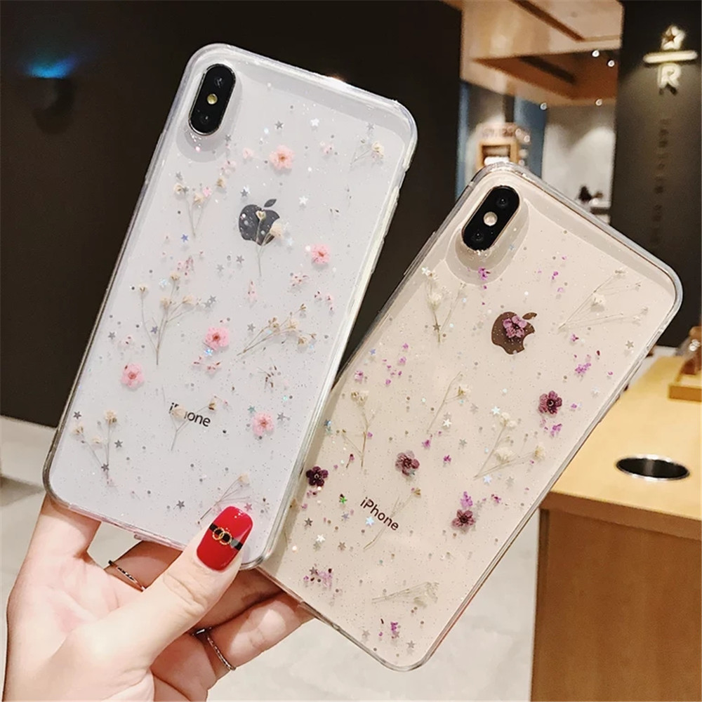 Real Flowers Dried Flowers Transparent Soft TPU Cover For Coque iPhone X 6 6S 7 8 plus Phone Case For iphone XS Max XR Cover