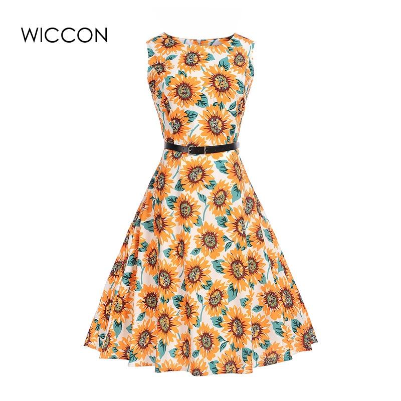 summer vintage print dress for woman defined high waist o-neck sleeveless tank collar hot sale mom clothing knee length dresses