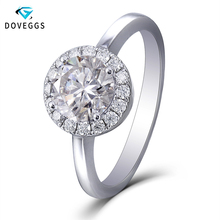 DovEggs 14K White Gold Center 1.5ct carat 7.5mm F Color Moissanite Halo Engagement Rings For Women Ring with 1.4mm Accents