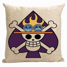 Skull pillow cover, Japanese cartoon Animation One Piece Luffy Joba poker cute throw pillow cover pillowcase(China)