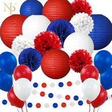NICROLANDEE 45 pcs/set White Red Blue Russia Day Lantern  Paper Flower Garland New Party DIY Decoration