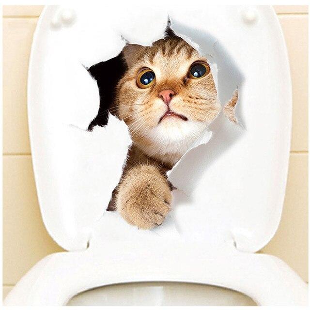 Tridimensionnel Animaux Mignons Chat Chien Toilette Autocollants Stickers Muraux Trou R/éfrig/érateur Affiches DIY D/écor /À La Maison