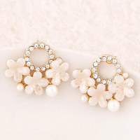 Retail Free Shipping New Fashion High Quality Shell Flower Stud Earring For Women Factory Direct Price