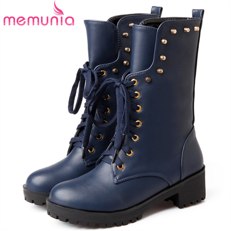 MEMUNIA 2018 Motorcycle boots in spring autumn med heels shoes woman mid cald boots female platform fashion big size 34-40 memunia hot sale motorcycle boots in spring autumn high heels shoes woman ankle boots punk fashion boots female big size 34 45