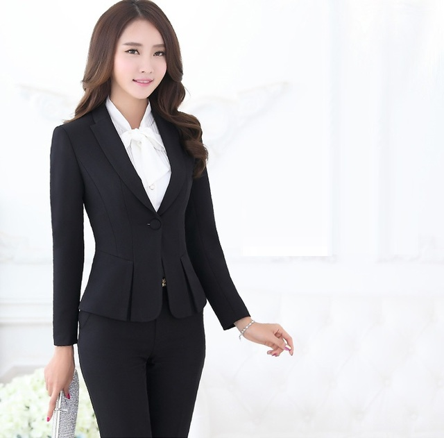 Formal Pant Suits For Women Business Office Work Black Blazer Las Uniform