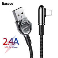 Baseus USB Cable For iPhone XS Max XR X 8 7 6 6S SE iPad 2.4A Fast Charging Charger Wire Cord 90 Degree Data Mobile Phone Cable