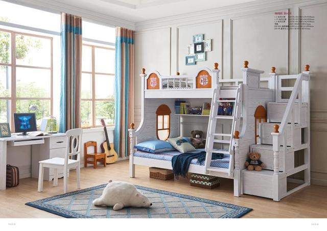 JLMF619 Ash Wood Children Bedroom Furniture All Solid Wood Children Bed  With Storage Cabinet Stairs Drawers