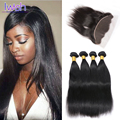 Brazilian Virgin Hair With Closure 4 Bundles Straight Virgin Hair With Frontal Iwish Human Hair Weave Bundles With Lace Frontal