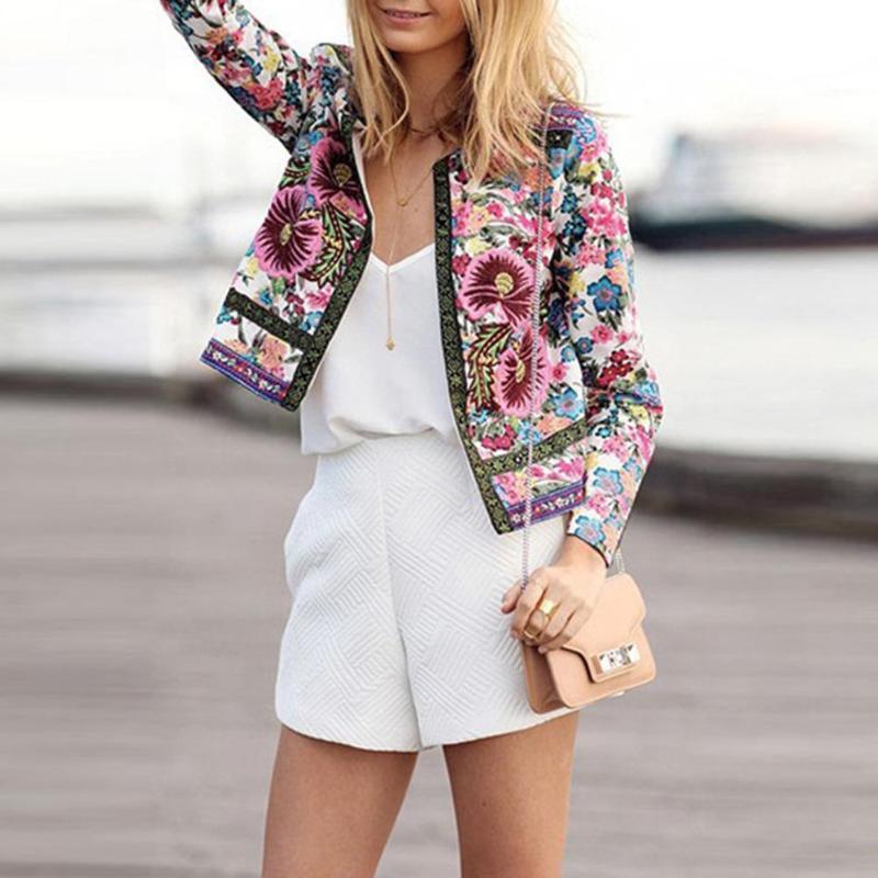 2018 Autumn Women Print Flowes   Basic     Jacket   Fashion Female Casual Ethnic Style Floral Print Women Collarless Elegant Coat