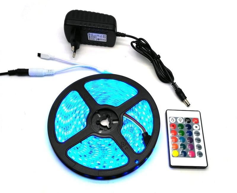 IP65 vandeniui atsparus 5050 RGB 5M LED juostų rinkinys + 24Keys IR - LED Apšvietimas - Nuotrauka 5