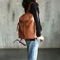 Vendange Мода консервативный стиль сумка ретро корова кожаная сумка ручной работы кожаный рюкзак 2106