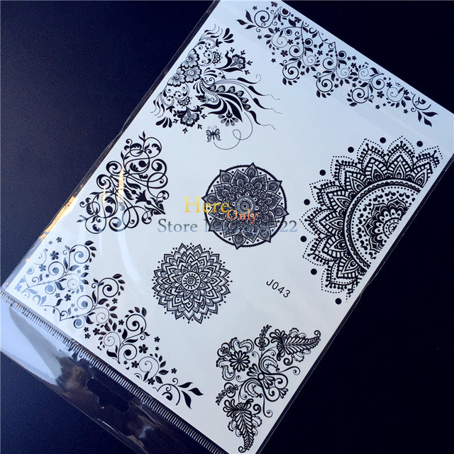 25 Estilos Belleza Cosmética Negro Tinta Henna Tatuaje Mandala Flor