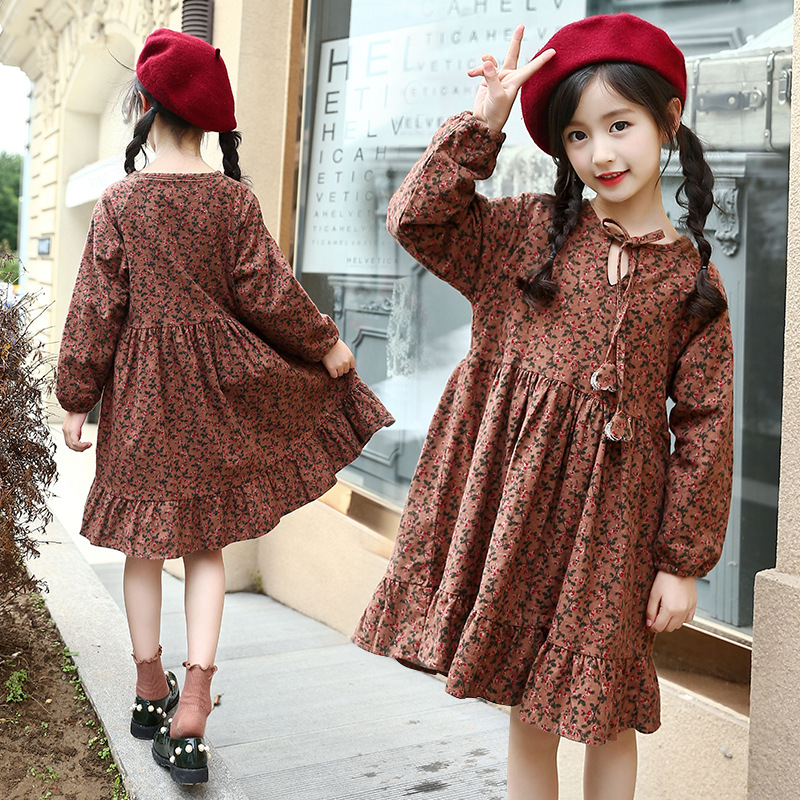 preppy style printed fleece dresses for girls winter 2017 dress kids baby big girl clothes children Christmas costume clothing 2017 new style long sleeve girls dress grey girl party time winter dress winter clothes girls halloween costume kids clothes