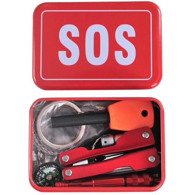 Outdoor Hiking Camping Tools Emergency Survival Tool Set Multi-function Wildlife SOS Tool Box Travel Kit Camping Equipment Gear