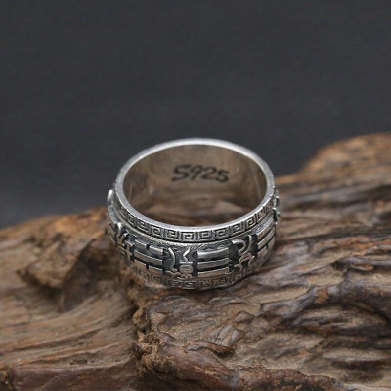 Твердые стерлингового серебра 925 Китай Багуа вращающийся счетчик кольца для Для мужчин Готический тайский Серебряные ювелирные изделия Дл...