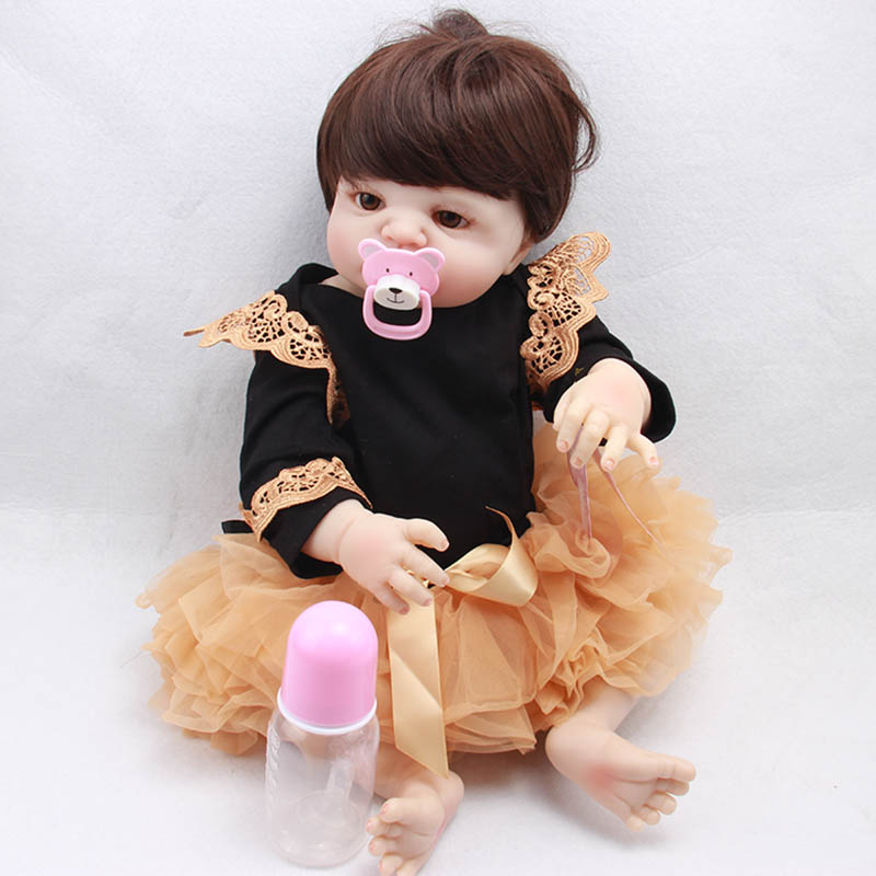 55cm Full Body Silicone Reborn Baby Doll Toys Lifelike Baby-Reborn Princess Doll Child Birthday Christmas Gift Girls Brinquedos 55cm new silicone reborn baby doll toys for kid child lovely princess dolls birthday present christmas gift girls brinquedos