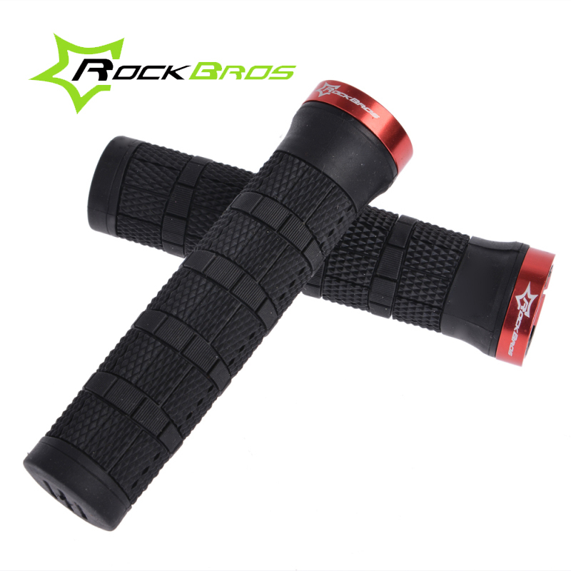 RockBros MTB Mountain Bike Fixed Gear Cycling Grips Bicycle Handlebar Lock-on Rubber Grips Cycle Parts,4 Color
