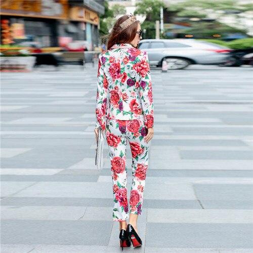 À Blazer Automne Twinset Costume Vestes De Set 3d Casual Multi Femmes Floral Designer Longues Manches Pantalon Haute Imprimé Vêtements Qualité dY4TOnwx