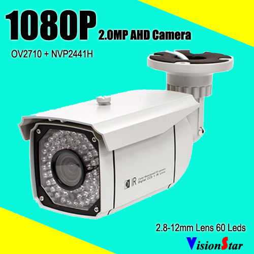 imágenes para 60 unids Sistemas IR Leds Seguridad Survelliance Cámara 1080 P AHD Varifocal Lente 2.8-12mm IP66 A Prueba de agua