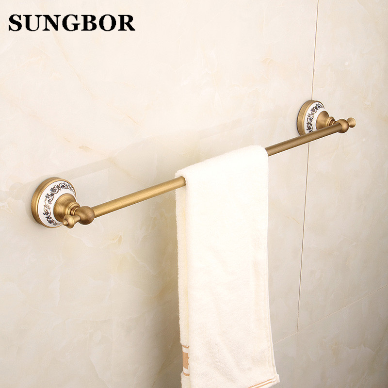 Antique Polish Brass Single Towel Bar Towel Shelf Chrome Towel Rail Ceramic Crystal Towel Bar for Bathroom Decoration FY-80310F towel bar k37355afd