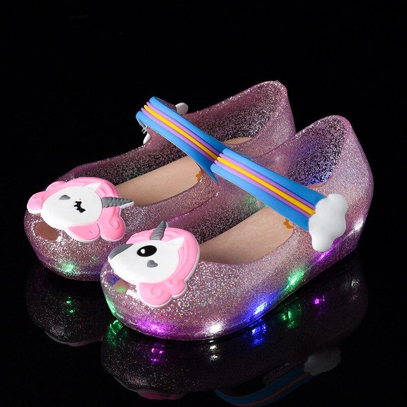 2018 nuevo unicornio jelly LED flash glitter incienso jelly zapatos para niños fish head girl sandalias 24-29