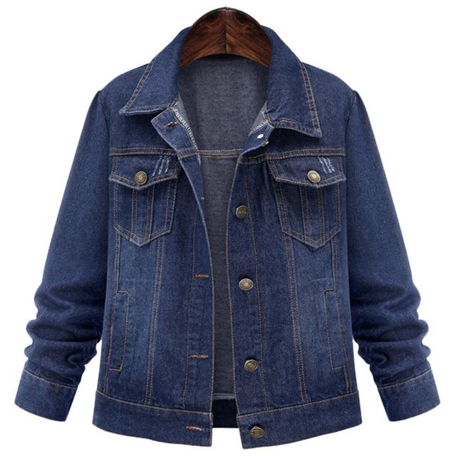 Adogirl Señoras de Las Mujeres Denim Jeans Chaquetas Outwear Coat de Gran Tamaño 2017 Otoño Primavera Turn Down Collar Singele Pecho Denim Tops