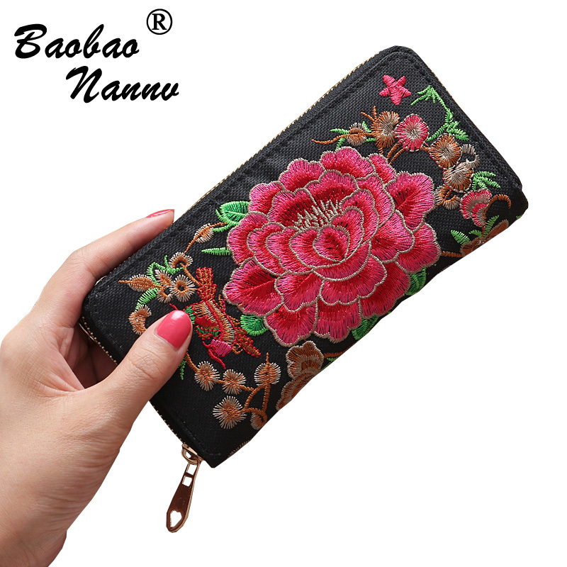 Women Long Wallets 2019 New Ethical Embroidery Card Holders Cellphone Pocket Pouch Handbag Lady Money Bag Clutch Female Wallet