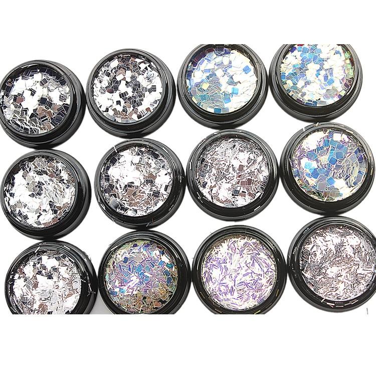 12Box/Set Nail Glitter Powder Mirror Effect Mix Size 0.2-3mm Paillette Laser Holographic Sequins For Art