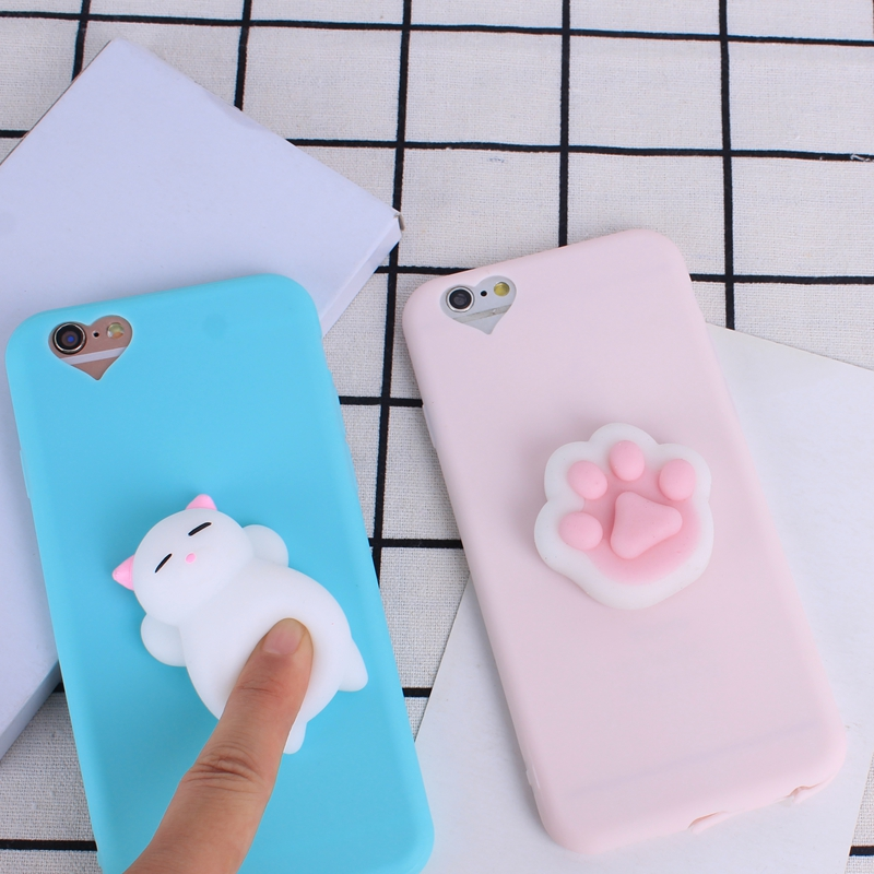 For iPhone 7 Plus 8 Plus 6 6S Plus Squishy Case Cute 3D Cat Seal Animal Stress Release Squish Cover For iPhone 5S SE 6S 8 Plus