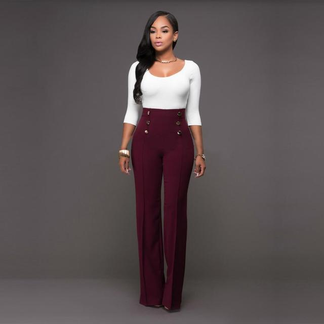 5fb6a30880 High Waist Flare Pants Plus Size Women Trousers Female Office Lady ...