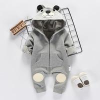 Autumn Winter New Cartoon Baby Jumpsuit Cotton Plus Cashmere Pocket Zipper Decoration Long Sleeved Siamese Baby