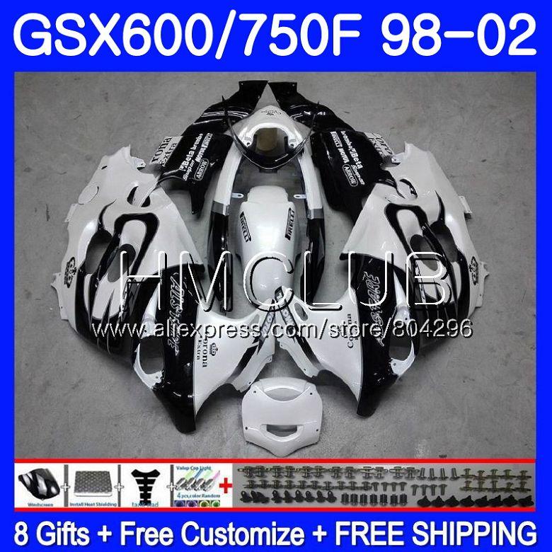 Белый corona комбинезоны для SUZUKI KATANA GSXF 750 600 GSXF750 98 99 00 01 02 2HM. 8 GSX750F GSXF600 1998 1999 2000 2001 2002 обтекателя