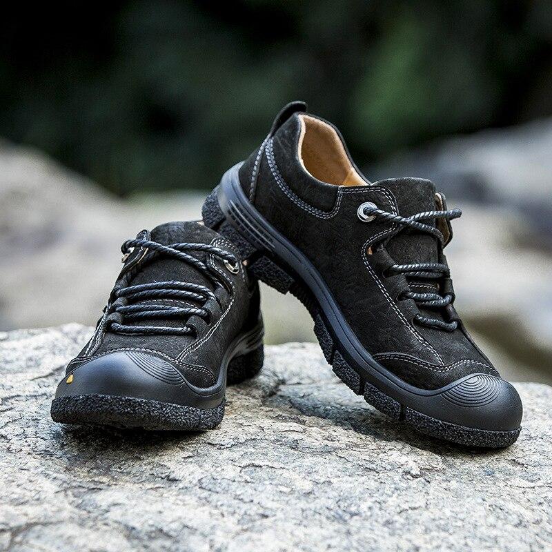 Ao De Couro Sapatos khaki Negócios Mens Primeira Rendas Ar Livre Casuais Amortecimento Backcamel Camada Cabeça Redonda Macio Britânico Único Black Bx1wEqZA