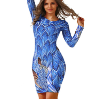 2016 Autumn New Party Dresses Long Sleeved Dresses Slim O Neck Retro Print Sexy Celebrity Women