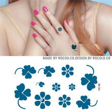 bbafd6b51 Daily Hot Sale Waterproof Temporary Tattoos Sticker Harajuku Blue Lovely  Four Leaf Clover Design Sexy Wrist Finger Fake Tattoo